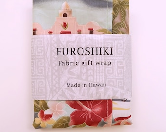 Hawaiian Floral and Scenic Print Fabric Gift Wrap Furoshiki | Eco Wrapping Cloth | XS-book cover, fabric board, fabric cover