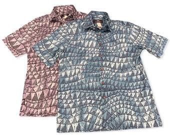 Shark Tooth Prints Summer Aloha Shirt | Grey and Blue