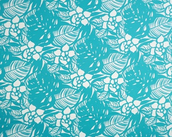 Modern Floral Print 100% Cotton Fabric - Teal C119T