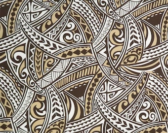 Polynesian Tribal Print 100% Cotton Hawaiian Fabric / - Beige & Brown C128BG