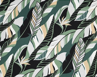 Modern Style Hawaiian Fabric with Palm Leaf Prints in Black and Green   Green Fabric C093G