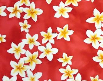 Plumeria Hawaiian 100% Cotton Fabric / Mask making-Pink C002P