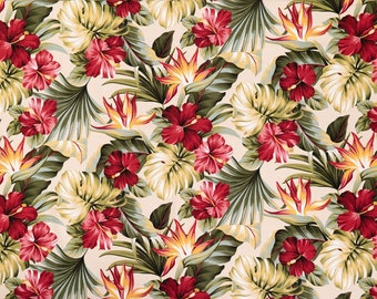 Hibiscus and Tropical Floral Print for Interior Furniture Fabric | Bark Cloth Hawaiian Upholstery Grade Fabric | Beige