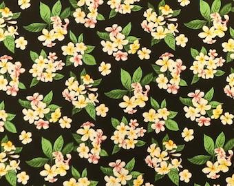 Plumeria Bunch Hawaiian Print Fabric|Black Cotton Floral Fabric C260BK