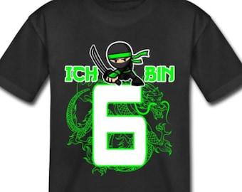 6th Birthday Young Girls | | Birthday Shirt sixth birthday gift | Gift idea | 6 Years Ninja Motif - Kids T-Shirt