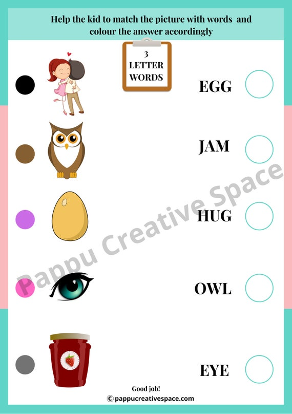 English Digital Printable Worksheets For Toddlers And Etsy