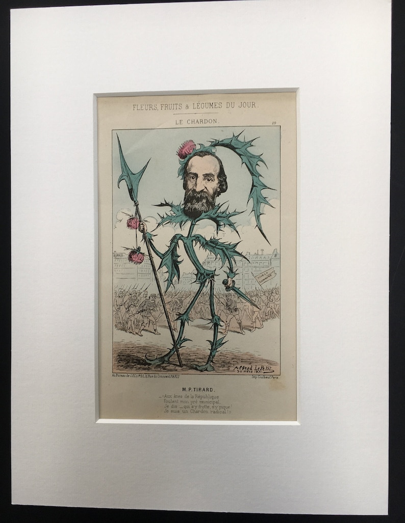 Antique Rare 1871 French Political Satire Cartoon Caricature Pierre Tirard by Alfred Le Petit 12 x 16 Hand-Coloured Recently Mounted