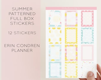 Pattern Full Box Planner Stickers - 12 Stickers - Summer Full Box Stickers - Erin Condren Planner Sticker Vertical