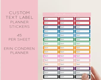 Custom Label Planner Stickers - 45 Stickers - I will print stickers with any word that you choose - 1 word per sheet