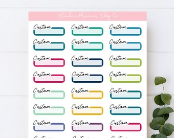 Custom Label Planner Stickers - custom sticker sheet - 30 Stickers - I will print stickers of any word that you choose - 1 word per sheet