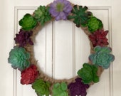 Faux Succulent Wreath on Woven Rope Frame 15 Inches