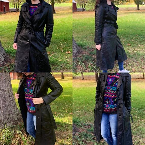 Vintage Women's Black Leather Trench Coat