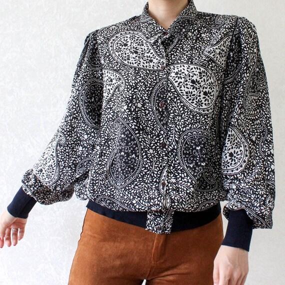 Vintage blouse boho purple black white size L gyps
