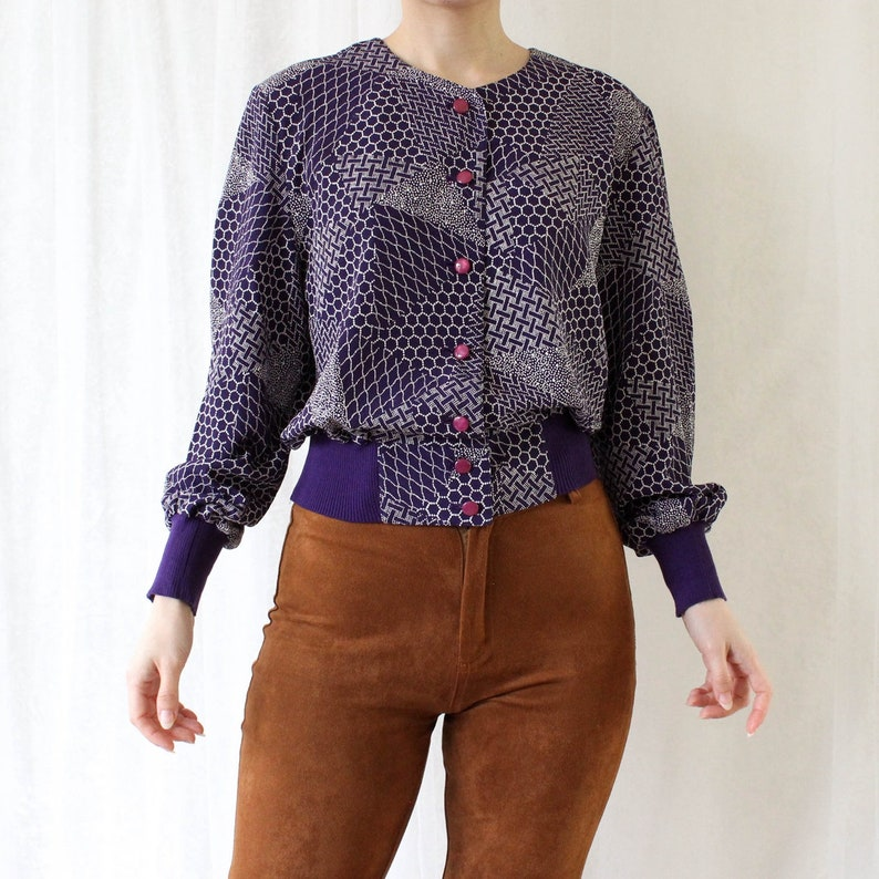 Vintage blouse size S36 retro gift for her long sleeves purple white