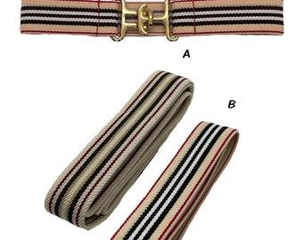 "Mini Skinnies >23"" - Tan/Red/Black Stripes Child Pony/Leadline 1""-1.25"" - Custom Elastic Equestrian Belt"