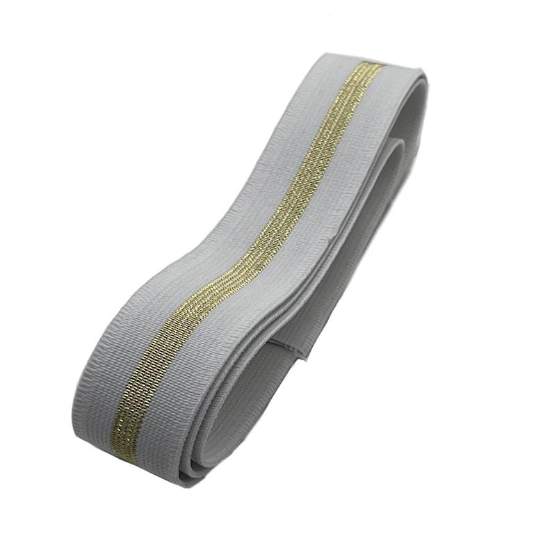 Custom Elastic Equestrian Belt Mini Skinnies White w Gold Metallic Stripe Child PonyLeadline 1\u201d-1.25\u201d