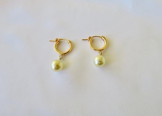 Pearl Hoop Earrings, Vintage