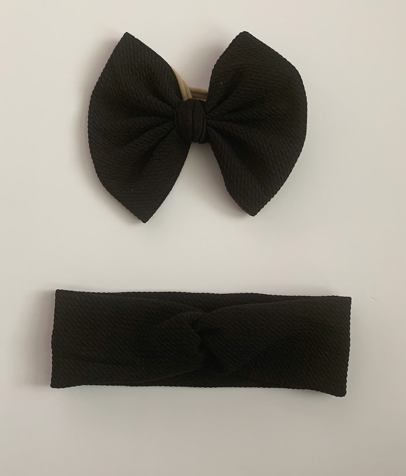 Black Bows Mom and Baby Baby Girl Bow  Turban Headband Mom and Me Set Mommy /& Me Headband Set