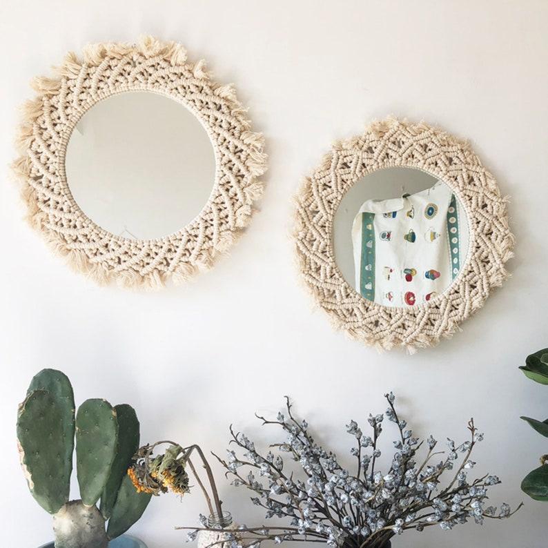 Hand-woven macrame mirror model room decoration vanity mirror home bedroom wall decoration dressing mirror