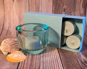 Ocean Mist -  Coconut Soy Tealights and Turquoise Glass Tealight Holder
