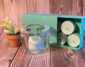 Baja Cactus Blossom -  Coconut Soy Tealights and  Clear Glass Tealight Holder