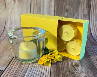 Sunflower Fields -  Coconut Soy Tealights and  Clear Glass Tealight Holder