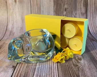 Sunflower Fields -  Coconut Soy Tealights and  Clear Glass Sleeping Cat Tealight Holder