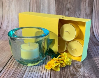 Sunflower Fields -  Coconut Soy Tealights and  Turquoise Glass Tealight Holder