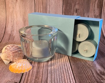 Ocean Mist -  Coconut Soy Tealights and Clear Glass Tealight Holder