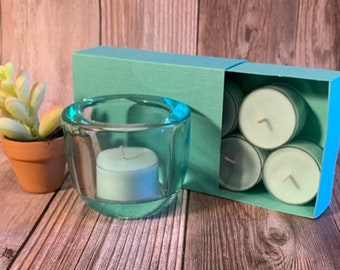 Baja Cactus Blossom -  Coconut Soy Tealights and Turquoise Glass Tealight Holder