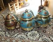 Vintage Enamel Stove-Top Coffee Pot 3Pcs SMALL Coffee Maker Blue Finjan on epink color enamel Set home decor kettles