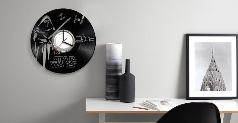SW Vinyl Wall Clock Death Star Kylo Ren Wars Dark Side Saga Art Decorate Home Style Unique Gift idea for Him Her 12 inches