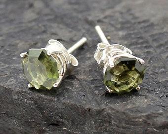 or Sterling Silver 4mm Platinum 5mm 6mm Genuine Moldavite Stud Earrings Moldavite Studs Real 14k Gold