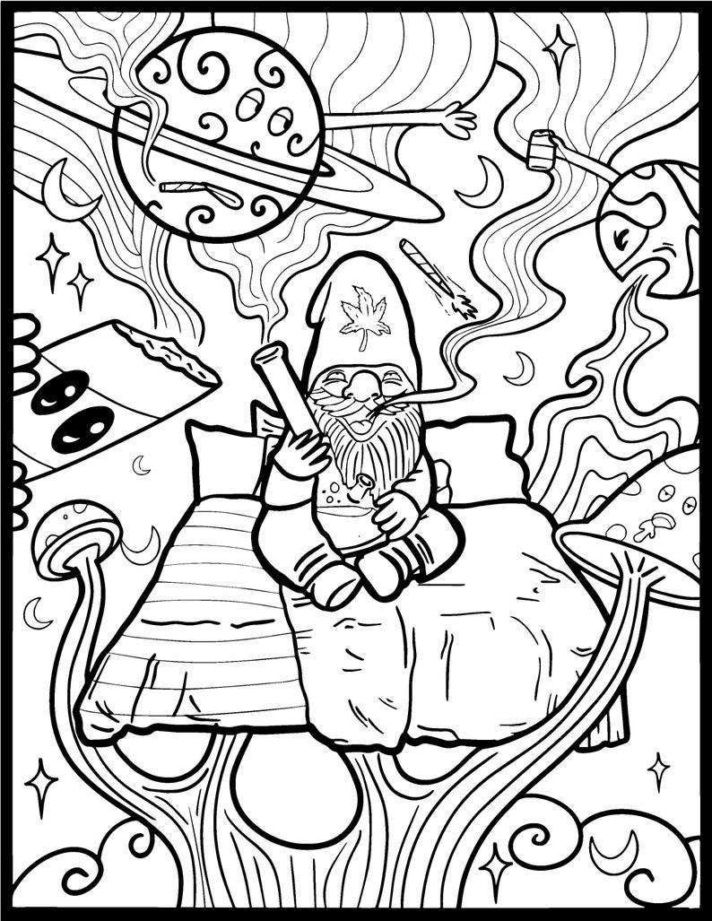 Stoner Coloring page for adults Mature Content Funny Draw ...