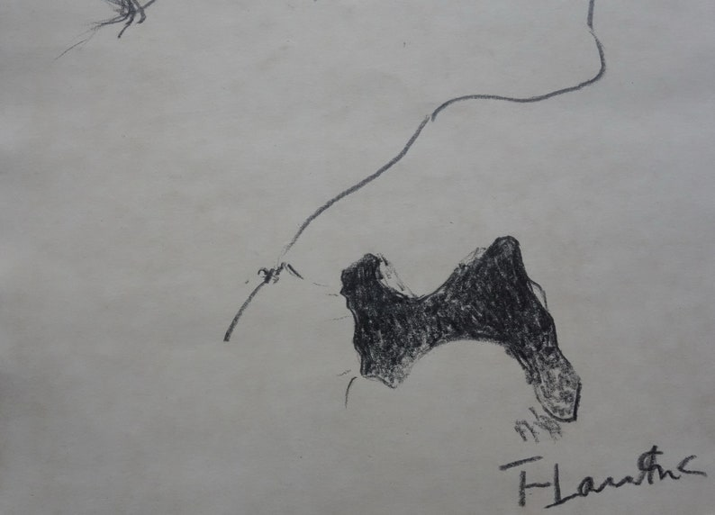 Fine early Expressionist drawing \u2013 study Signed Henri de Toulouse Lautrec
