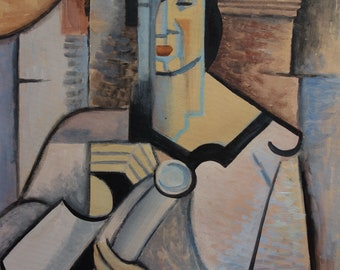 Fine French Cubism Picasso era original portrait of a woman painting, Signed