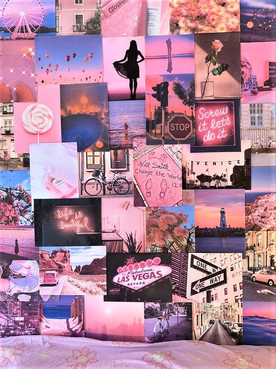 Pink Aesthetic Pretty Retro Wall Collage Kit Vsco Vintage Room Etsy