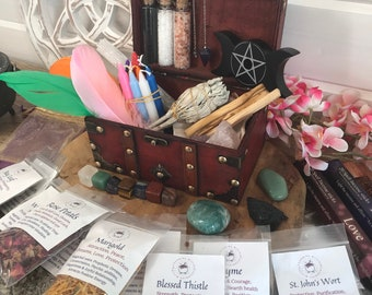 LARGE WICCA Kit: 25 Herbs, Sage, Candles, Incense, Crystals, Wicca, Pagan tools, Spells