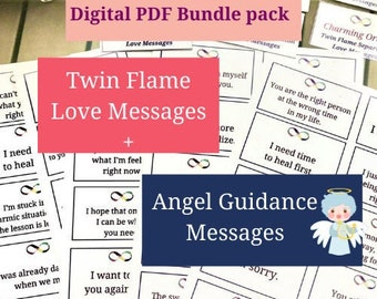Twin Flame Love Messages & Angel Guidance Messages bundle,180 PDF PRINTABLE cards, Instant Download