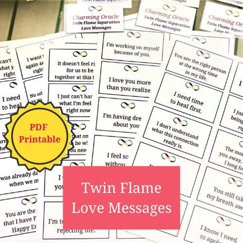 Twin Flame Love Messages: 100 PDF PRINTABLE cards Instant image 0