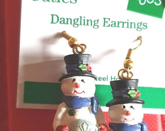 rare xmas russ berrie snowman earrings, ideal gift novelty earrings new vintage