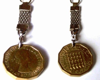 original uk 3d coin multisided, dates vary keyring, key holder original real