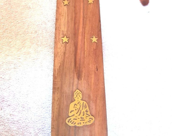 buddah brass inlay insence holder ideal  sticks or cones these are madeto order   plus 10  mixed sticks for free