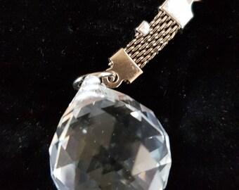 prism keychain keyring keyfob made from glass crystal , teardrop design
