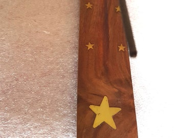 star brass inlay long insence holder for sticks or cones these are made to order   plus 10  mixed sticks for free