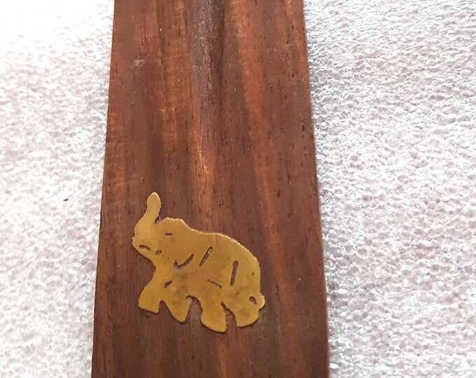 elephant brass inlay long insence holder ideal for sticks or cones  these are made to order   plus 10  mixed sticks for free