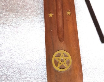 pentagram brass inlay long insence holder ideal for sticks or cones   these are made to order   plus 10  mixed sticks for free