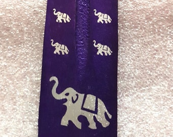 elephant sign screenprinted purple long insence holder  ideal for sticks or cones  plus 10  mixed sticks for free