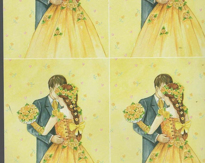 wedding theme yellow style decoupage sheet high quality printed on quality paper