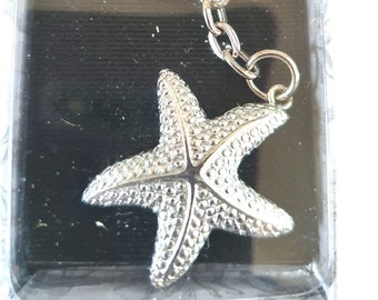 silver starfish unused new boxed keychain keyring